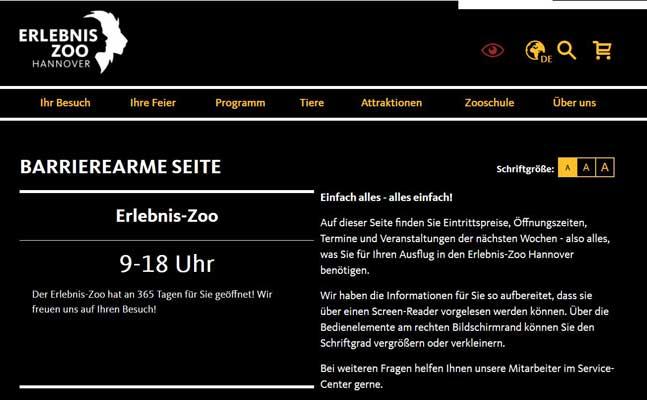 Die Kontraste der Seite sind höher und der Text kann vorgelesen werden - Grafik: Zoo Hannover