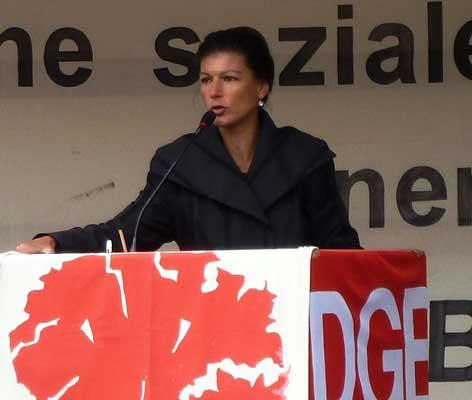Sahra Wagenknecht bei ihrer Rede zum Tag der Arbeit – Foto: DGB