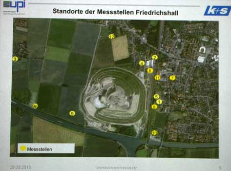 Die aktuellen Messstellen sind gelb eingezeichnet - Foto: JPH