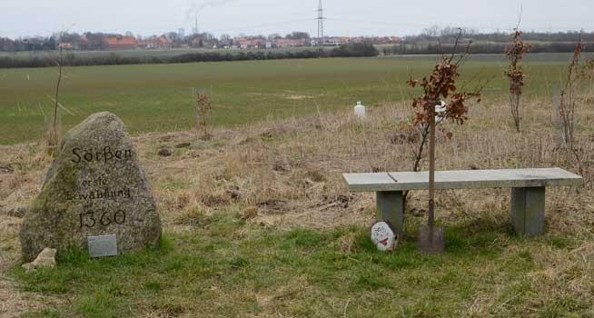 Am Platz der ehemaligen Ortschaft Sörßum stehen Spaten und Baum bereit - Foto: JPH