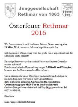 Die Junggesellschaft Rethmar bittet zum Osterfeuer - Plakat: Junggesellschaft