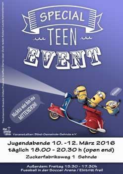 Jetzt für die Teen-abende anmelden - Plakat: Bibelgemeinde Sehnde
