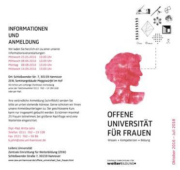 Die Offene Universität lädt jetzt alle Wiedereinsteiger zum Seminar ein - Faltblatt: Uni Hannover