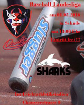 Die Devils trafen auf die Fischbeck Sharks - Plakat: Sehnde-Devils