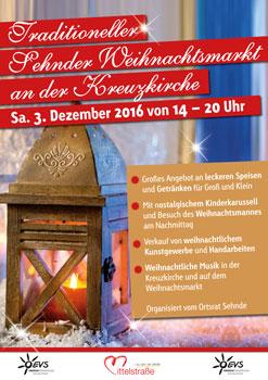Der Weihnachtsmarkt ist wieder an der Kreuzkirche - Plakat: Ortsrat Sehnde